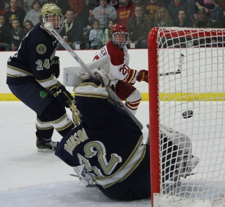 Slapshot: Matthew Kirzinger, FSU sophomore, takes a shot against Notre Dame during the Feb. 18 game. The Bulldogs lost both games to Norte Dame. Photo By: Brock Copus | Photographer