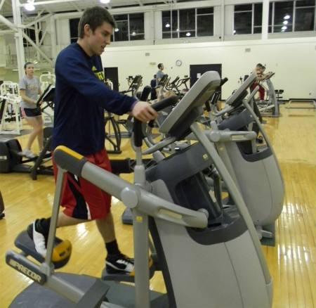 New Equipment: Nick Miller and other FSU students are enjoying new equipment, including three recumbent bikes and two upright bikes, that were delivered to the SRC on Feb. 15. Photo By: Angie Walukonis | Photographer
