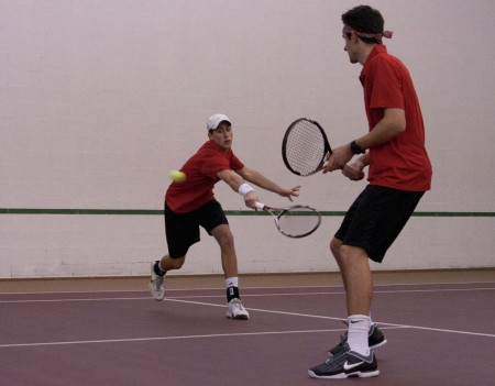 Season Beginning: Ferris seniors, Kyle Revall and Steven Roberts, playing doubles in the Feb. 19 match against Aquinas. The men's team defeated Aquinas 5-4. Photo By: Kate Dupon   Photo Editor