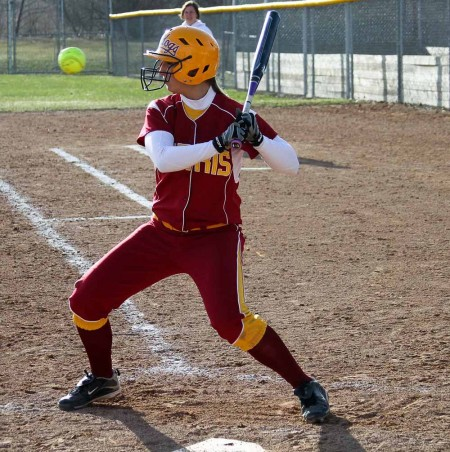 Season Closing: Lindsey Pettit, sophomore first baseman, steps up to bat during a game against LSSU. The Bulldogs will close their season with four road games against Hillsdale and two at Wayne State. Photo By: Brock Copus | Photographer