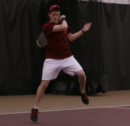 Winning Streak: Ferris junior Jack Swan, during a match against Grand Valley State. The Bulldogs record is 12-4 overall for the 2010-11 season. Photo By: Kate Dupon | Photo Editor