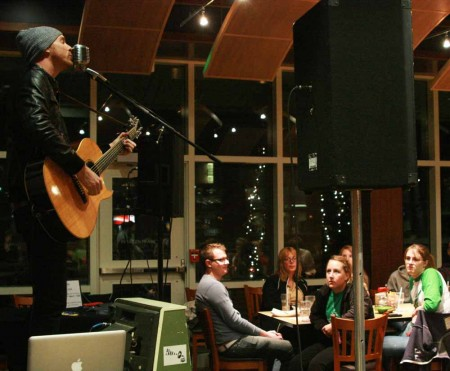 Rock Performance: Preston Pugmire performed for Ferris students in the Rock Cafe on Tuesday, Nov. 8. Pugmire's performance was welcomed by students who sang along during the concert. Photo By: Kate Dupon   Photo Editor
