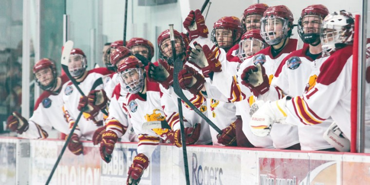 Bench Celebration: The Bulldog bench erupts during the shootout against Western Michigan. Ferris State would split last weekend, Feb. 8-9, on the road at Northern Michigan.  Photo By: Brock Copus   Multimedia Editor