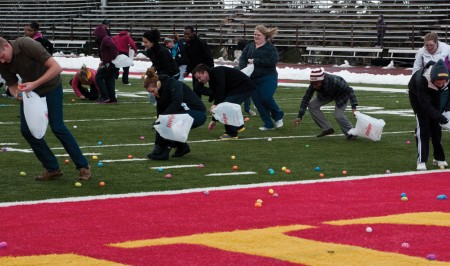 Easter Egg Hunt: Ferris students scoured Top Taggart Field for Easter eggs during the Easter egg hunt last week. Ferris students were filled with joy after filling up their bags with goodies.  Photo By: Tori Thomas | Photographer