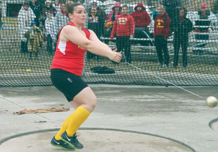 Swing Around: Bulldog junior thrower Jessica Pilling competes in the hammer throw. Pilling would finish in first with a throw of 53.86 meters. Photo By: Brock Copus   Multimedia Editor