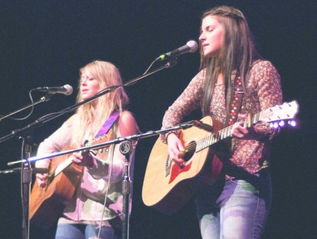 """Got Talent?: Ferris students Ashlyn Chambers and Kim Curcuru perform an original song """"Make Believe"""" (above) during Ferris Has Talent in Williams Auditorium. Photo By: Tori Thomas   Photographer"""