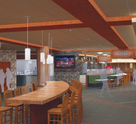 The new University Center will be open to students in Jan. 2015. Students can expect a whole new dinning experience, with a variety of choices from different retail venues that will be in the cafe, such as SuCasa, a Mexican-Qdoba style station. Courtesy Photo By: Neumann Smith