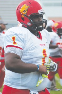 Okoye stands an imposing six feet six inches and tips the scales at 380 pounds, making him Ferris State's largest player.