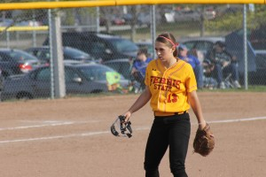 Stacy Thompson stares down the plate after a mound visit in the midst of her first collegiate no-hitter.