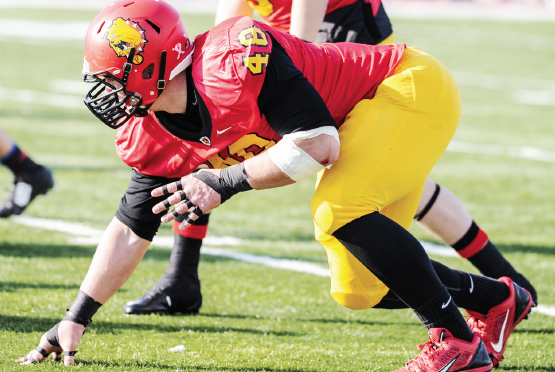 Ferris defensive lineman Justin Zimmer may hear his name called for the Detroit Lions on NFL Draft Day.