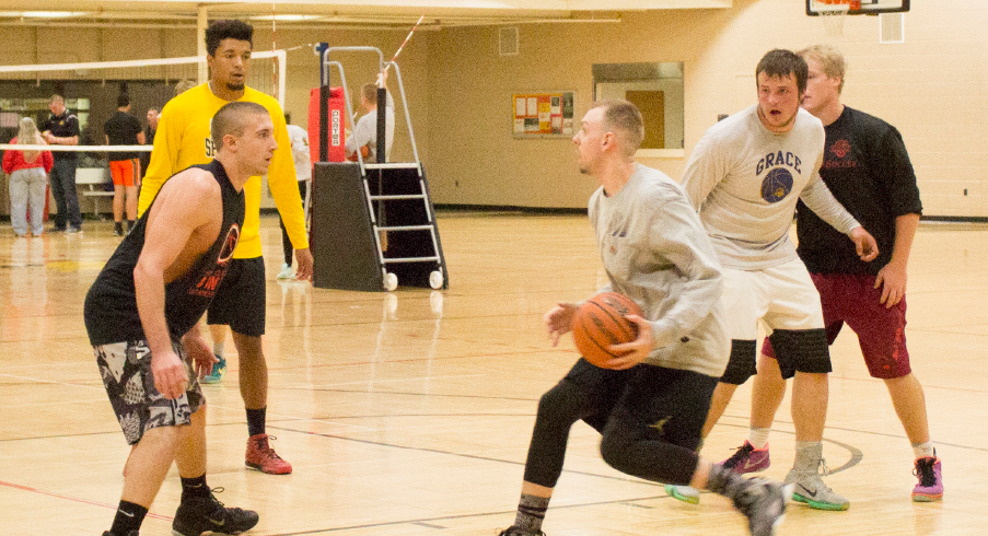 Students enjoy a game of basketball at the Rec. The fitness facility is open this semester until 1 p.m. on Friday, Dec. 16, and will be closed for Christmas break. For more information visit U-Rec's page at ferris.edu.